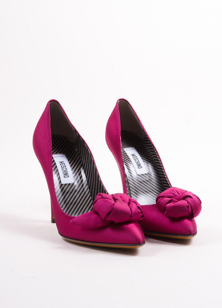 Moshcino Fuchsia Pink Satin Rosette Pointed Toe Pumps Frontview