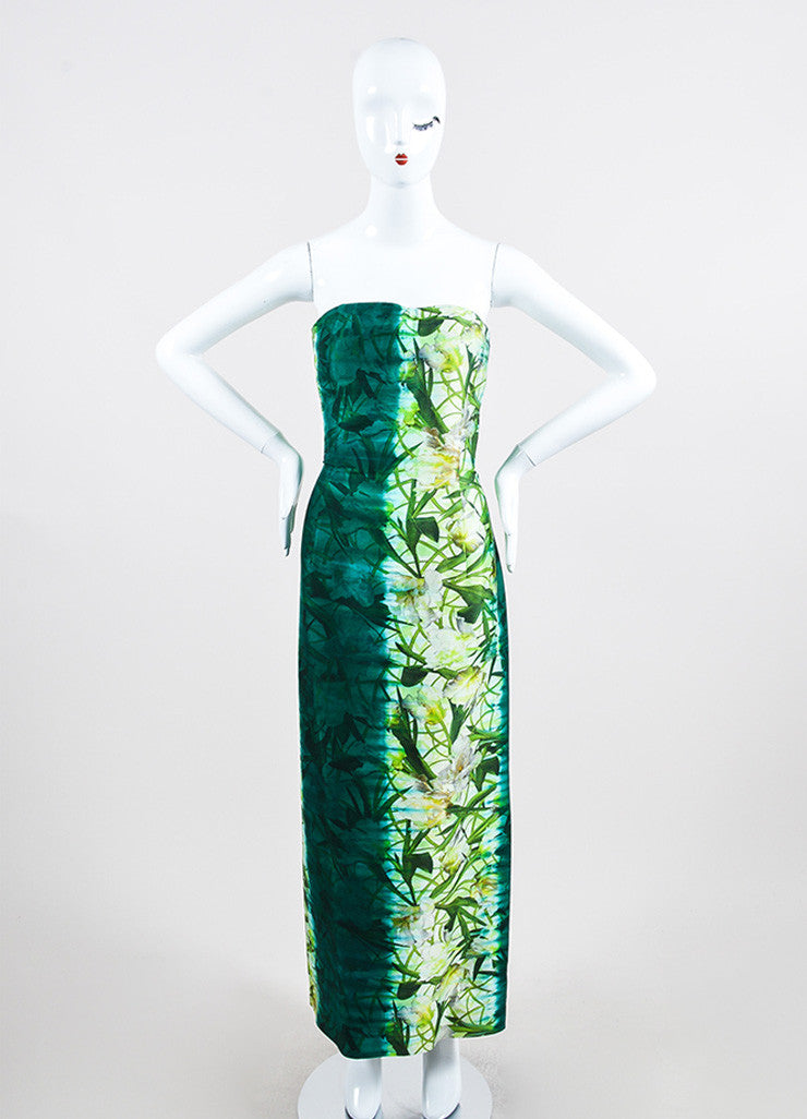Green Oscar de la Renta Cotton and Silk Floral Print Strapless Gown Frontview