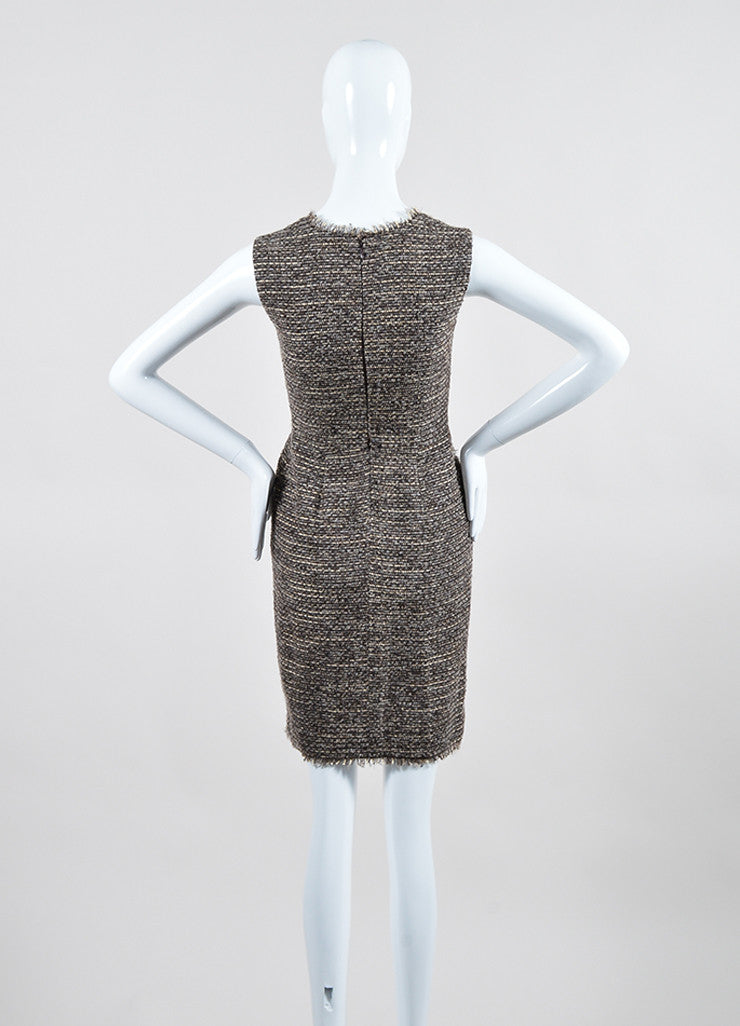 Brown, Grey, and Cream Oscar de la Renta Square Neckline Sleeveless Tweed Dress Backview