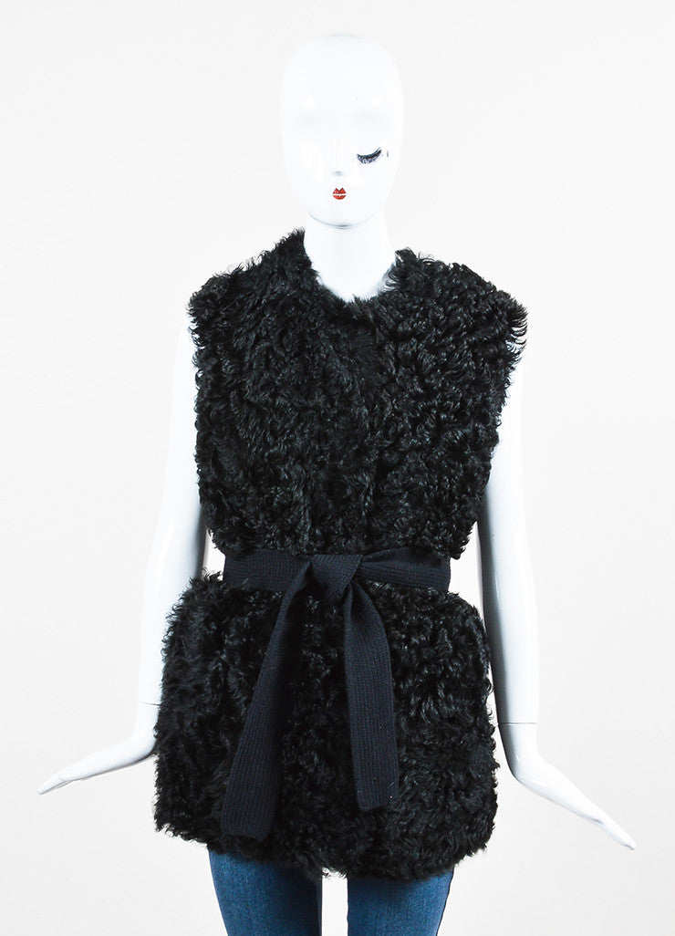 Prada Black Sheep Fur and Wool Knit Belted Vest Frontview