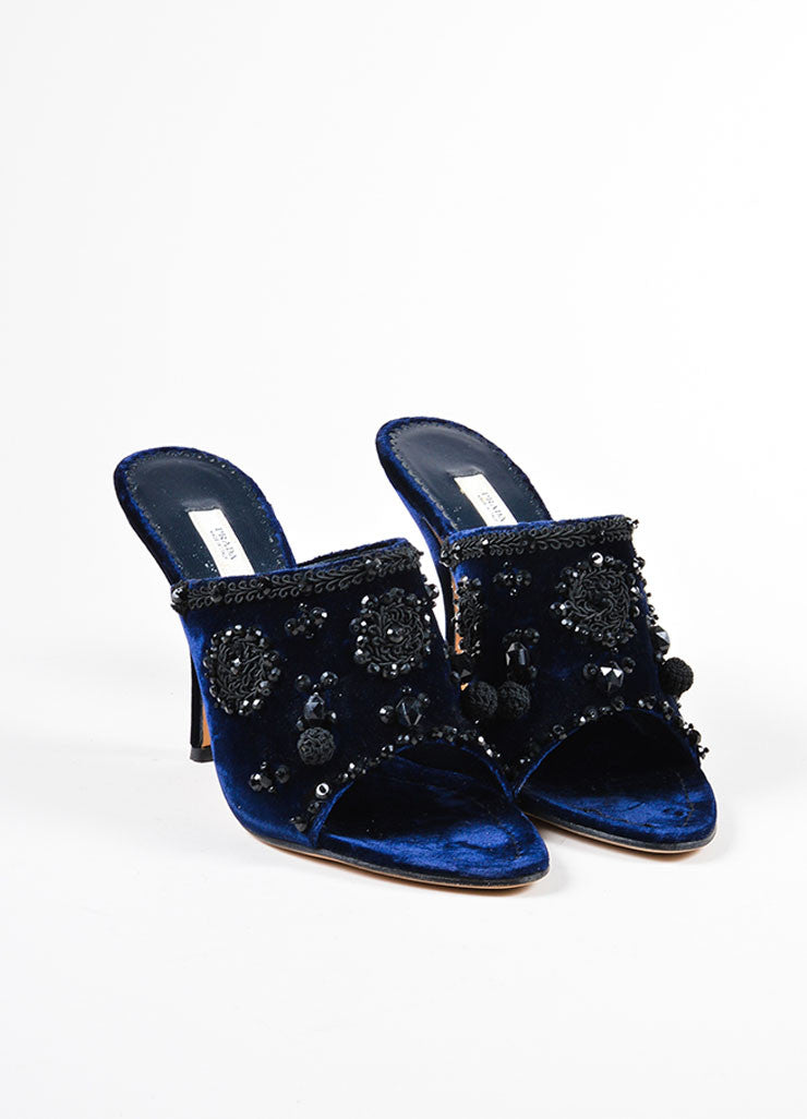 Cobalt Blue and Black Prada Velvet Beaded Embroidered Heeled Mules Frontview