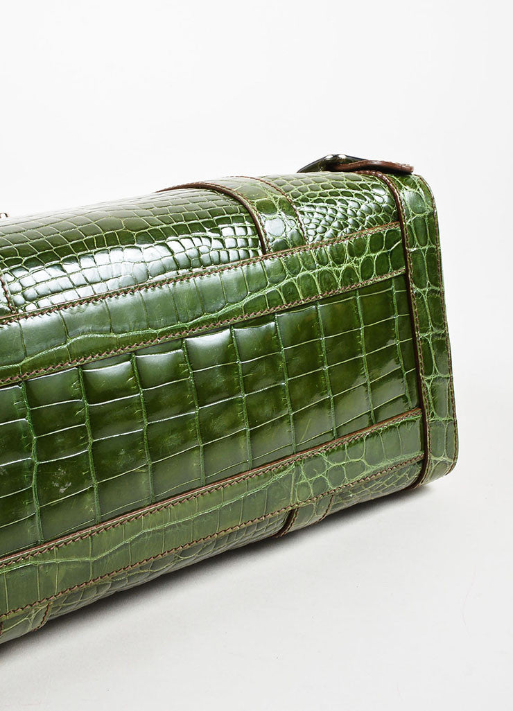 "Prada Green Genuine Crocodile ""Lucido Lock Flap"" Satchel Shoulder Bag Bottom View"