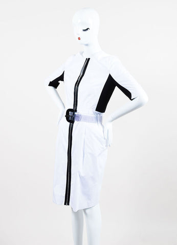 Black and White Proenza Schouler Cotton Color Block Zipped Belted Short Sleeve Dress Sideview