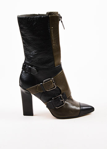 Reed Krakoff Black and Taupe Leather Zipper Harness Buckle Pointed Toe Boots Sideview