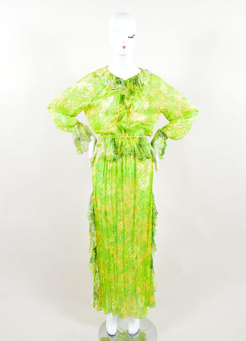 Roberto Cavalli Green Silk Floral Printed Ruffled Pleated Kaftan Dress Frontview