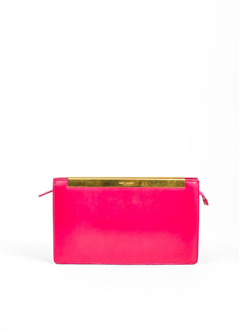 "Magenta Pink and Gold Toned Saint Laurent Leather ""Lutetia"" Box Clutch Bag Frontview"