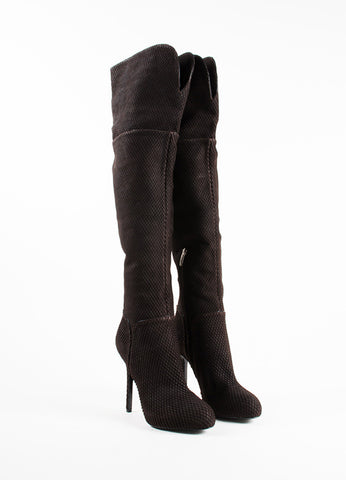 Sergio Rossi Brown Snakeskin Style Suede Heeled Over the Knee Boots Frontview