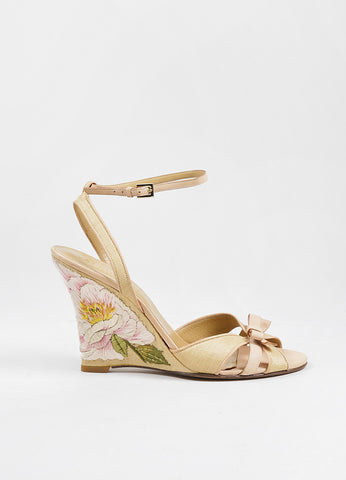 Valentino Tan Leather and Raffia Floral Embroidered Ankle Strap Wedges Sideview