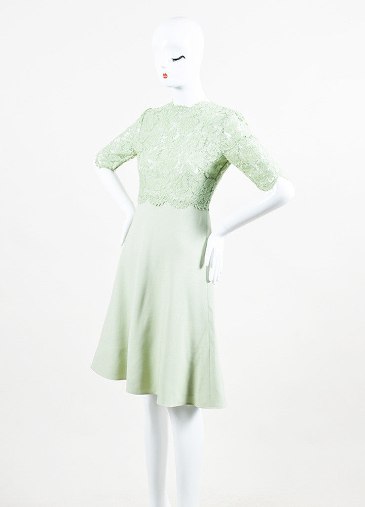 Valentino Mint Green Lace Mid Sleeve A-Line Dress Front