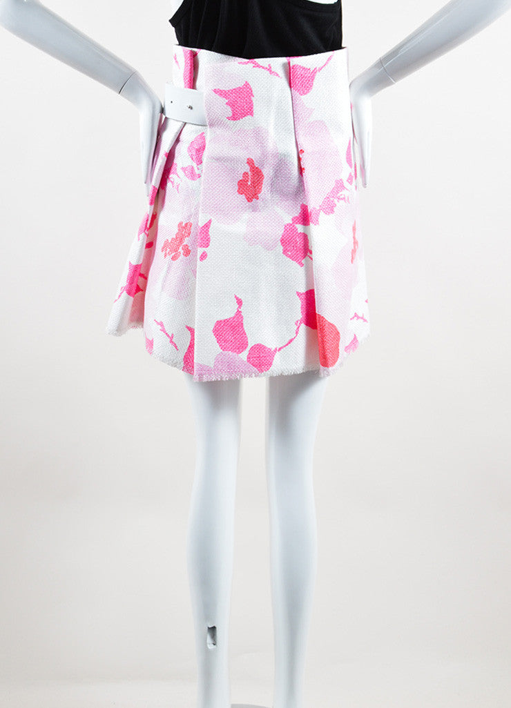 Victoria Beckham White and Pink Woven Raffia Floral Belted Skirt Backview
