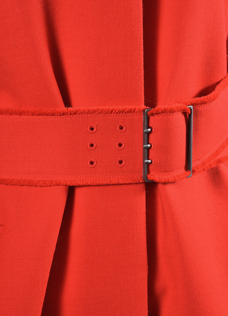 Red Victoria Beckham Wool Belted Button Coat Detail
