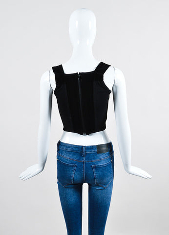 Black Vivienne Westwood Velvet and Wool Stretch Knit Side Panels Sleeveless Corset Top Backview