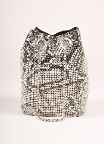Whiting and Davis White and Black Mesh Snakeskin Print Chain Mini Pouch Shoulder Bag Frontview