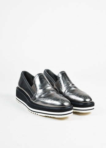 Prada Anthracite Metallic Leather Wingtip Platform Slip On Loafers Front