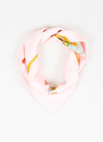 "Hermes ""Regina"" Pink Green White Silk Floral Scarf Frontview"