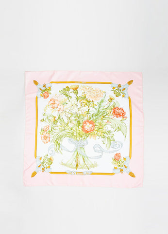 "Hermes ""Regina"" Pink Green White Silk Floral Scarf Frontview 2"