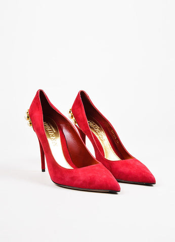 Alexander McQueen Red Suede Leather Faux Pearl Studded Pointed Toe Pumps Frontview