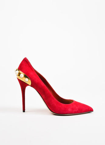 Alexander McQueen Red Suede Leather Faux Pearl Studded Pointed Toe Pumps Sideview