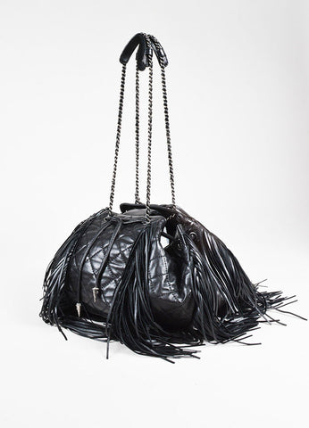 "Chanel Black Lambskin Leather Quilted ""Paris Dallas"" Drawstring Bag Back"