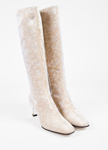 Dolce & Gabbana Gold and Silver Floral Print Glitter Mid Heel Knee High Boots Frontview