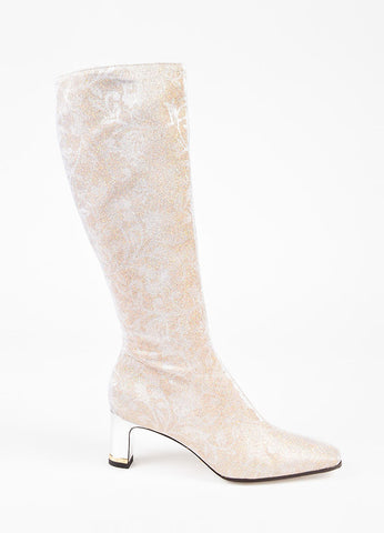 Dolce & Gabbana Gold and Silver Floral Print Glitter Mid Heel Knee High Boots Sideview