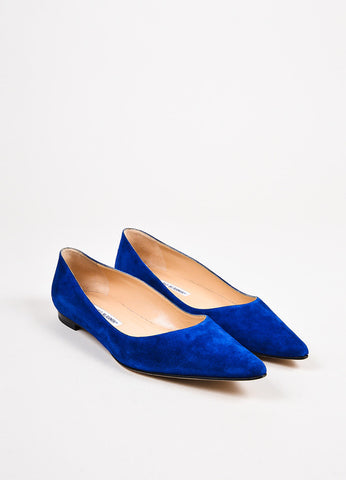 Manolo Blahnik Royal Blue Suede Pointy Toe Flats  Frontview