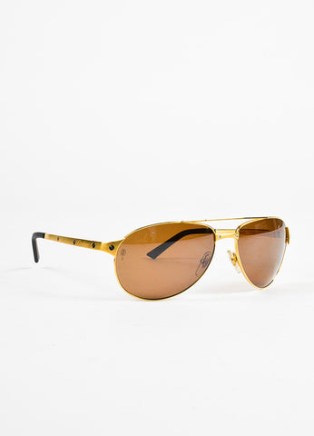 "Cartier Gold Brown ""Santos-Dumont"" Polarized Aviator Sunglasses Front"