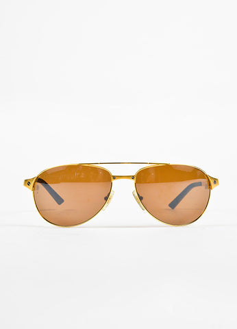 "Cartier Gold Brown ""Santos-Dumont"" Polarized Aviator Sunglasses Front 2"