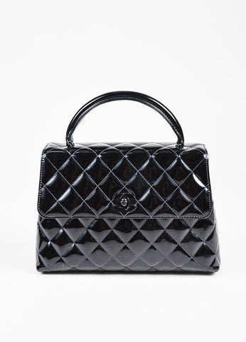 "Chanel Black Patent Leather Front Flap 'CC' Quilted ""Kelly"" Bag Frontview"