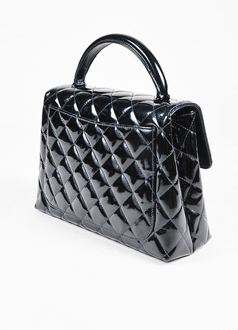 "Chanel Black Patent Leather Front Flap 'CC' Quilted ""Kelly"" Bag Sideview"