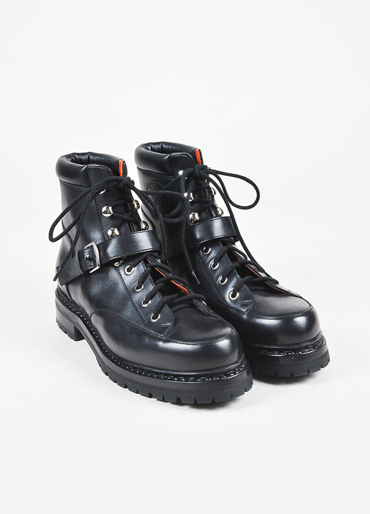 Hermes Black Leather Lace Up Buckled Platform Hiking Boots Frontview