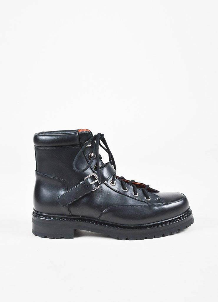 Hermes Black Leather Lace Up Buckled Platform Hiking Boots Sideview