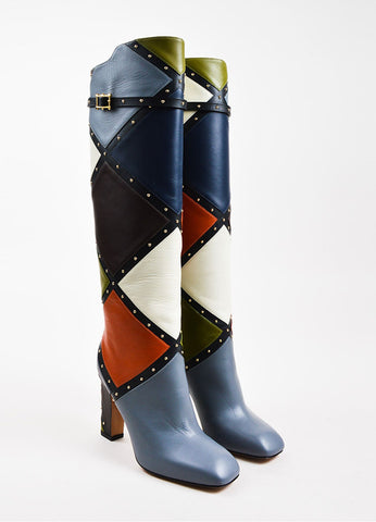 "Valentino Multicolor Leather Patchwork Studded Knee High ""Dotcom"" Boots frontview"