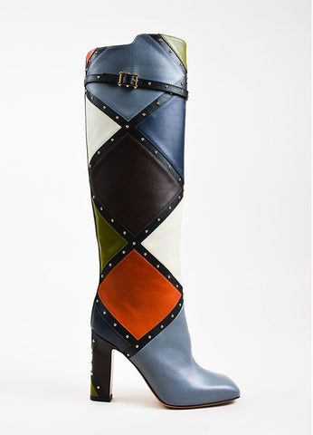 "Valentino Multicolor Leather Patchwork Studded Knee High ""Dotcom"" Boots Sideview"