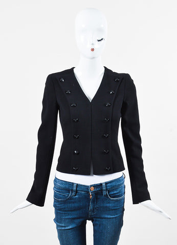 "Chanel ""Camellia"" Black Wool Textured Button Up Long Sleeve Jacket Front"
