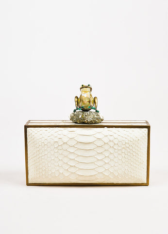 R&Y Augousti Cream Python Malachite Mother of Pearl and Pyrite Frog Clutch Bag Frontview