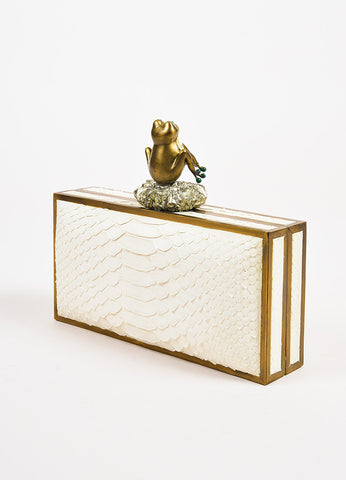 R&Y Augousti Cream Python Malachite Mother of Pearl and Pyrite Frog Clutch Bag Sideview