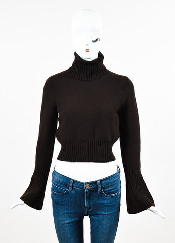 Fendi Dark Brown Wool Knit Turtleneck Cropped Sweater Frontview