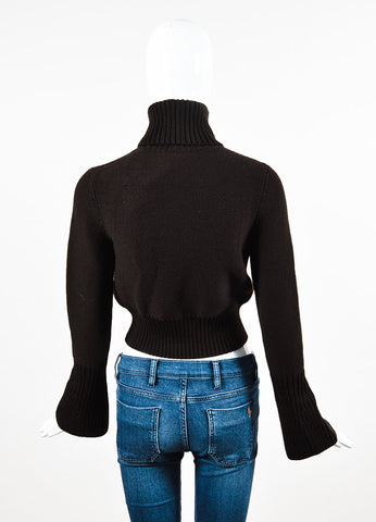 Fendi Dark Brown Wool Knit Turtleneck Cropped Sweater Backview