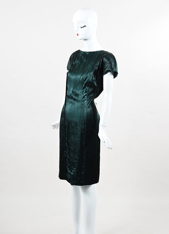 Prada Forest Green Silk and Cotton Cap Sleeve Sheath Dress  Sideview