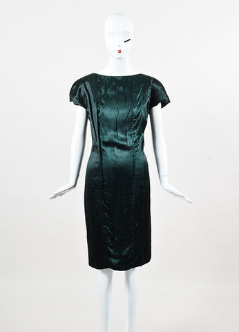 Prada Forest Green Silk and Cotton Cap Sleeve Sheath Dress Frontview