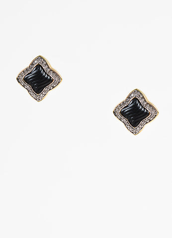 David Yurman 18K Yellow Gold Onyx Diamond Post Earrings Front