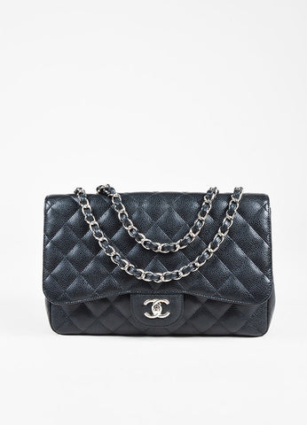 "Chanel Black Caviar Leather Chain Strap ""Classic Jumbo"" Single Flap Shoulder Bag Frontview"