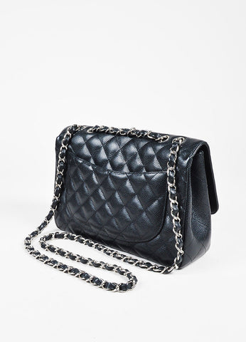 "Chanel Black Caviar Leather Chain Strap ""Classic Jumbo"" Single Flap Shoulder Bag Sideview"
