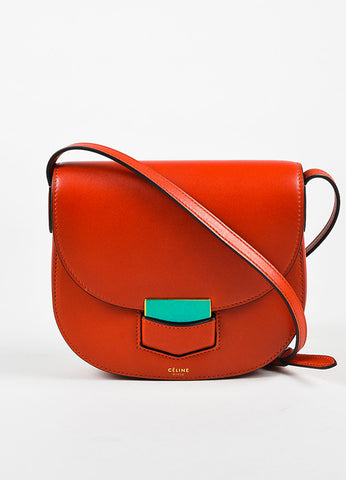 "Celine Red Calfskin Leather ""Small Trotteur"" Crossbody Bag Frontview"