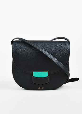 "Celine Black Grained Calfskin Leather ""Small Trotteur"" Crossbody Bag Frontview"