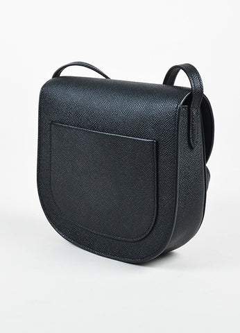 "Celine Black Grained Calfskin Leather ""Small Trotteur"" Crossbody Bag Sideview"