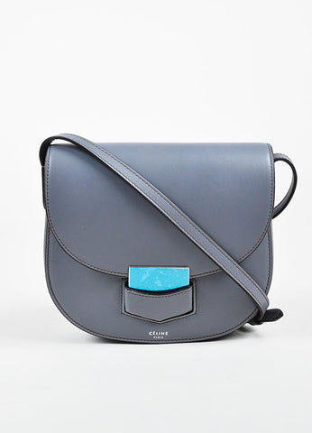 "Celine Grey Calfskin Leather ""Small Trotteur"" Crossbody Bag Frontview"