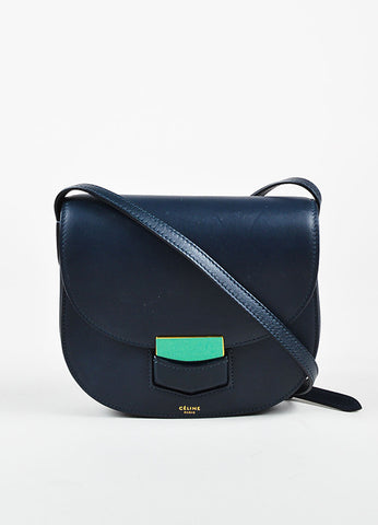 "Celine Navy Blue Calfskin Leather ""Small Trotteur"" Crossbody Bag Frontview"