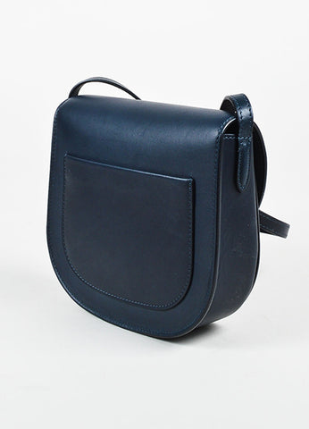 "Celine Navy Blue Calfskin Leather ""Small Trotteur"" Crossbody Bag Sideview"